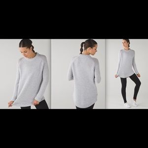 Lululemon Passage Sweater Light Gray/White 4 NWT